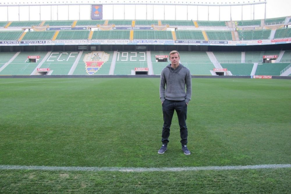 Charlie on the pitch at Elche