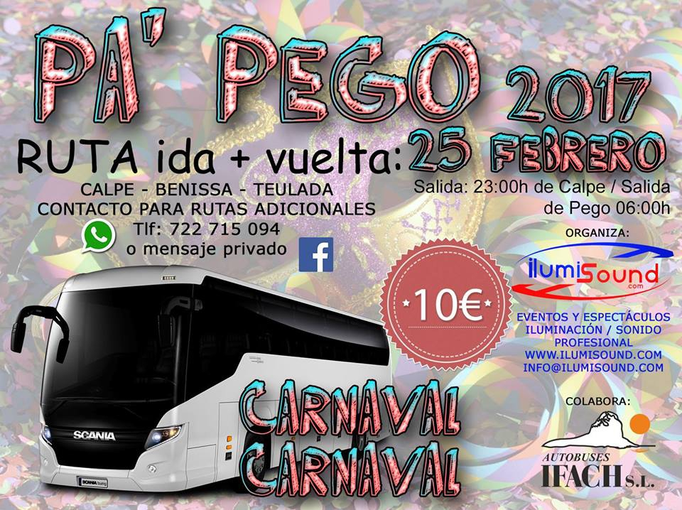 Bus to Pego Carnival 25-Feb 2017