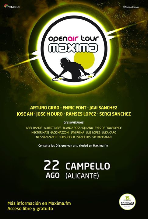 Maxima Open Air Tour 2017 en El Campello el 22 de agosto
