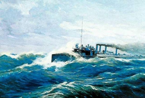 The destroyer 'Storm', oil painting by B. Hatzi