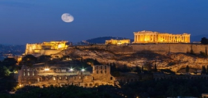 Parthenon and Herodium construction in Acropolis Hill in Athens,