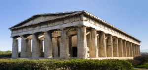 Eastern facade of Hephaistos Temple built on the top of Kolonos Agoraisos hill ( ca. 460-415 B.C.) , Ancient Agora of Athens, Greece
