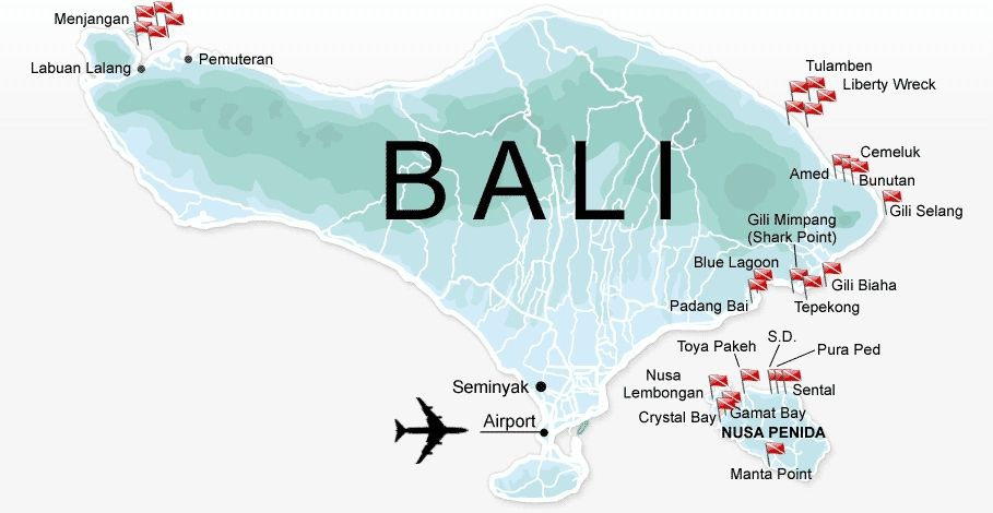 Map of Recommended Bali Diving Sites