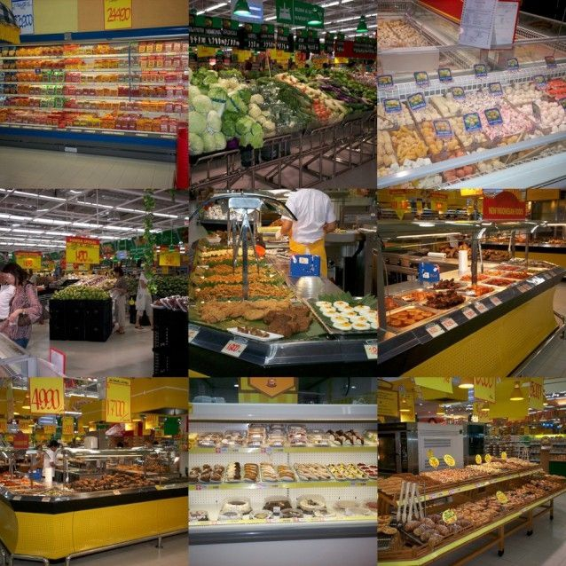 Busy Carrefour Supermarket -French bakery is a MUST visit