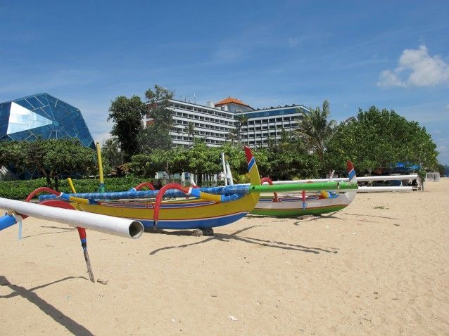 Jukung wingboats in front of Grand Beach Bali Hotel