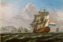 VOC ship de Nieuwland in Table Bay, Cape of Good Hope