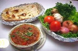 Curry, Naan and Salad