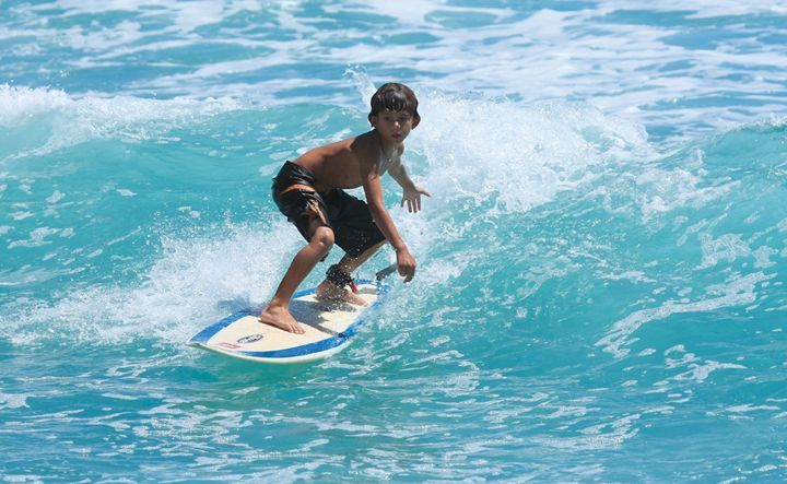 Young Coby surfing off Silver Sands on the South Coast (Credit: Chris Welch for Brian Talma)