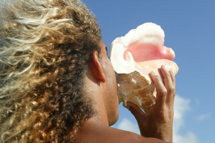 Conch shell blowing is a symbol of beach culture (Credit: Chris Welch for Brian Talma)
