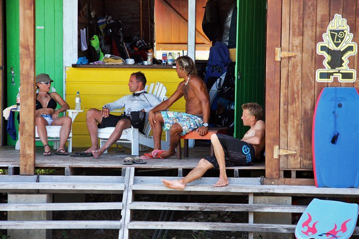 Klass, Brian and some visitors relax at deAction Beach Shop (Credit: Chris Welch for Brian Talma)