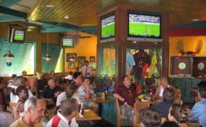 Over 24 flat screen TVs for sports fans