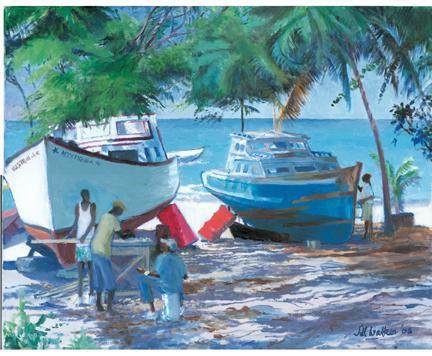 Boats in the shade by Jill Walker