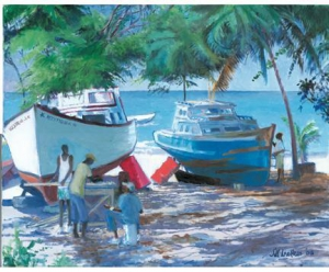 Boats in the shade by Jill Walker