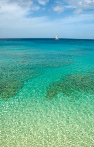 Crystal clear and aquamarine Barbados sea