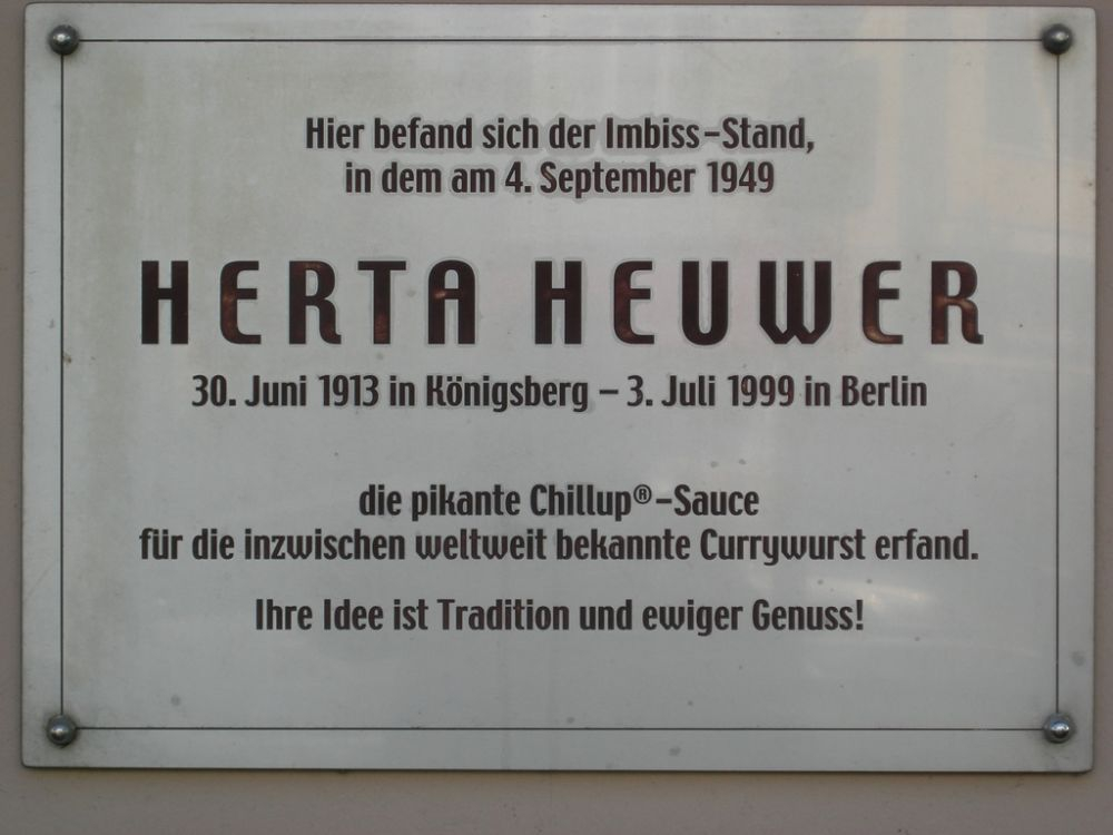 The plaque at the site of Herta Heuwer