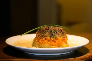 Mini Haggis plate - with a creamy carrot and pumpkin mash and a whisky cream sauce