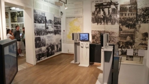 The exhibition is full of video and photographic material from the period