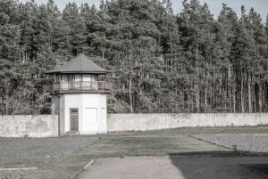 Wall and guard tower at Sachsenhausen memorial