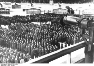 Prisoner Roll Call at Sachsenhausen Concentration Camp 1936. Image courtesy of the Bundesarchiv, Bild 183-78612-0003 / CC-BY-SA