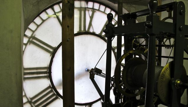 Behind the clock on the Corn Exchange