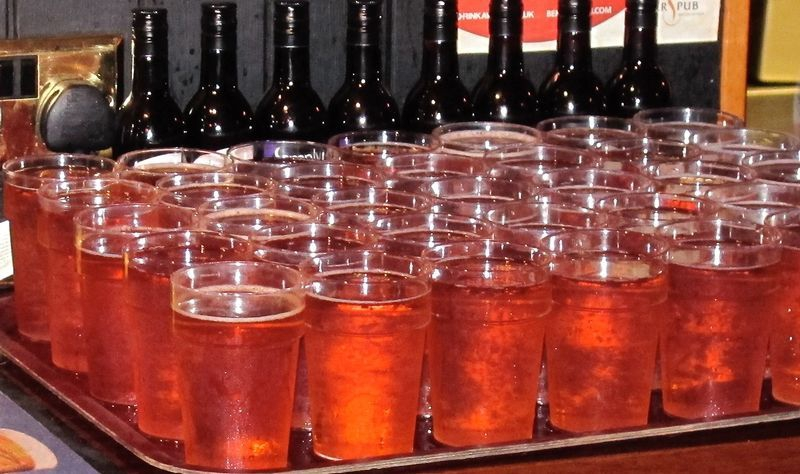 A tray of locally brewed cider