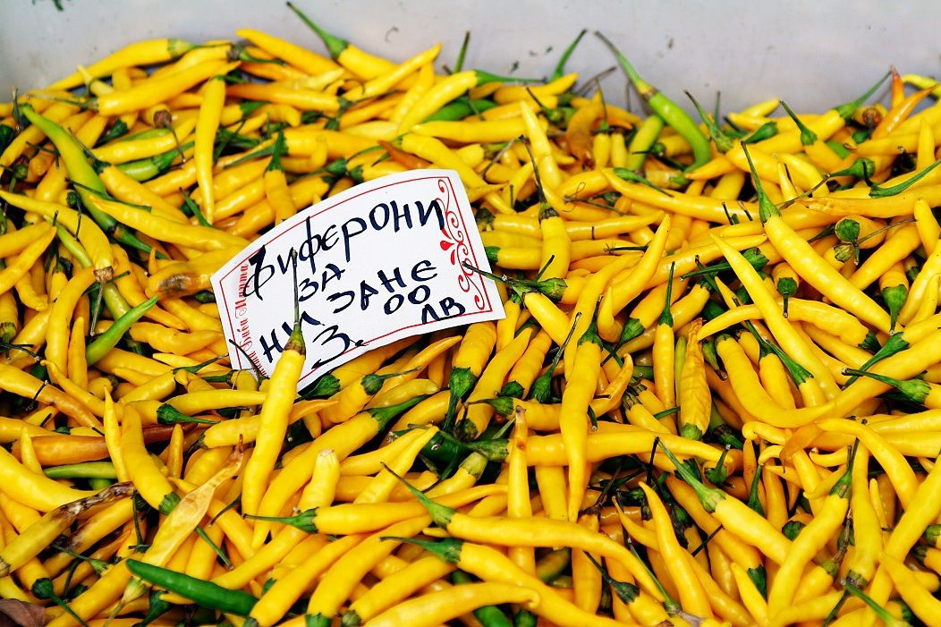 Yellow Chilis at Market