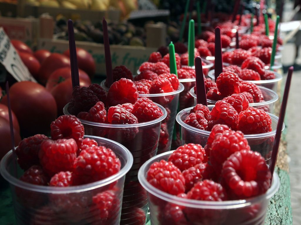 Wild raspberries offered at the market