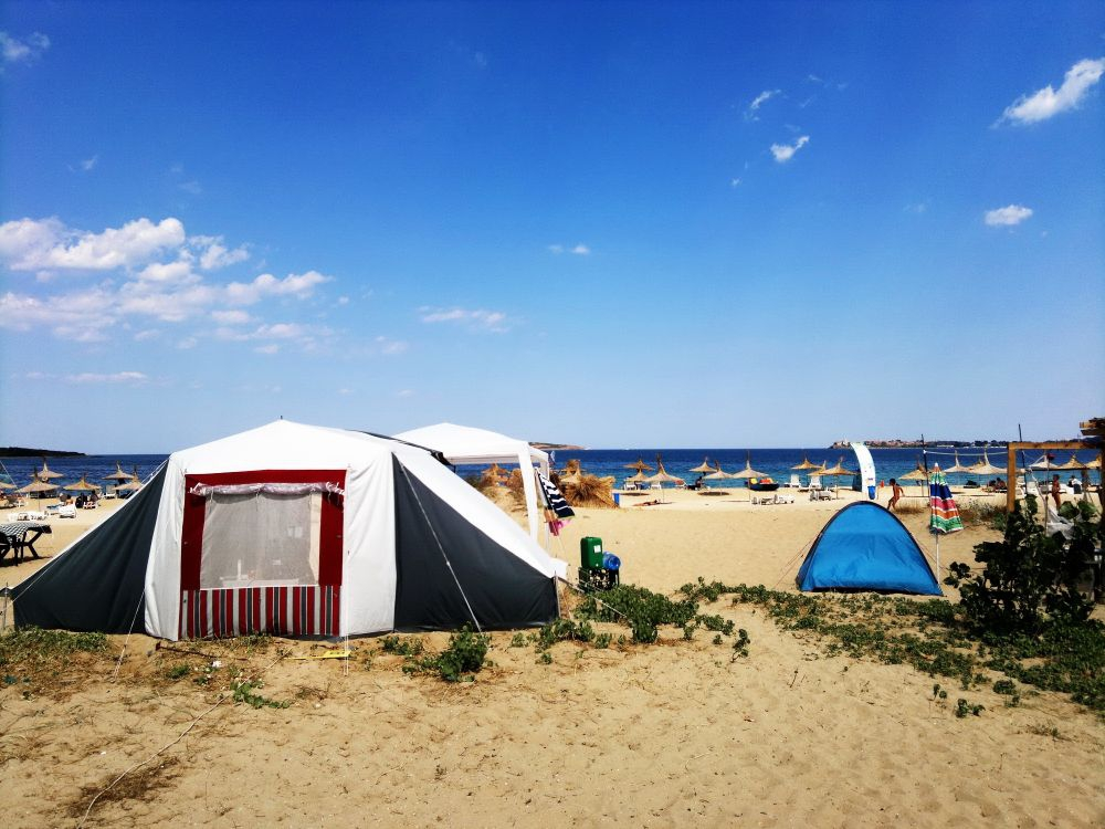 Camping on the sandy coastline