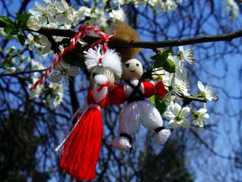 Tie your martenitsa on a blossoming tree