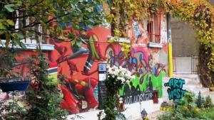The Art Wall of the Art Hostel