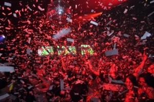 The confetti explosion time