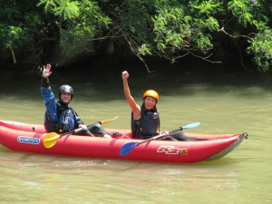 Paddling in tandem, cheering in tandem, doubling the fun
