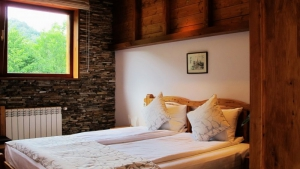 Wood and stone for a homely feel and a great view through the window