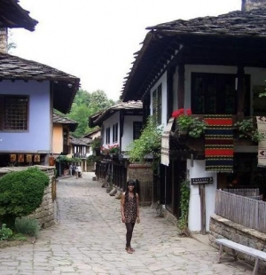 A Thai girl enjoying some restored Renaissance buildings