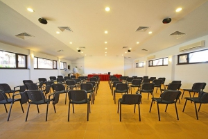 Spacious conference room with natural light