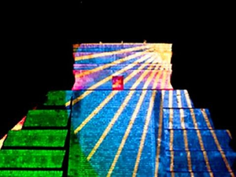 "Images projected on ""El Castillo"" Pyramid"