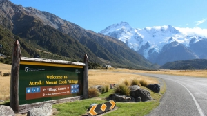Entering Mount Cook Village