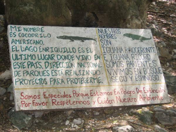 Sign at Lago Enriquillo by Elena Antúnez