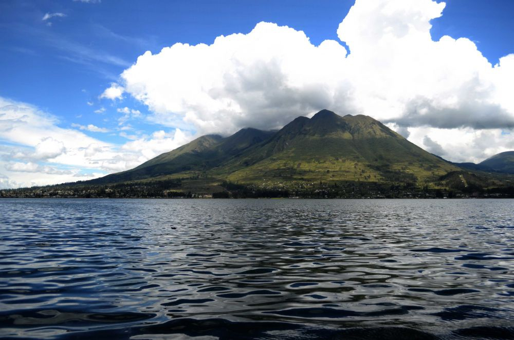 Lago San Pablo at the foot of the Imbabura Volcano