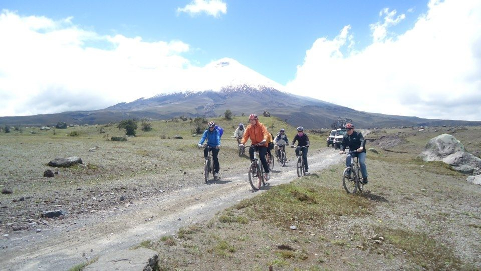 Biking in the Andes (Cotopaxi volcano in the background)