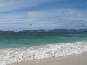 Kit surfing on Canido beach, Vigo