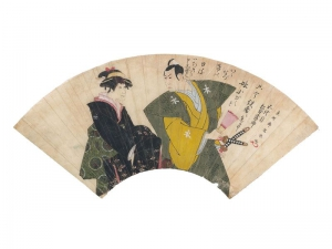 Fan: colours on paper. 18th c. AD. Japan