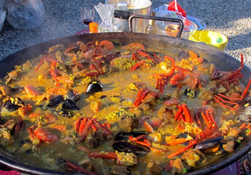 paella cooking in it