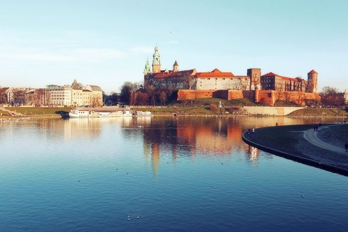 Wawel Castle view from Debnicki Bridge.