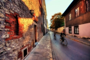 Cycling Down the Old Town Streets