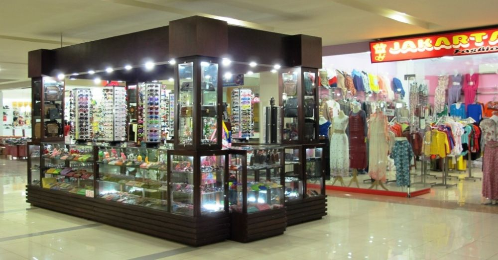 A mini-stall selling sunglasses and wallets