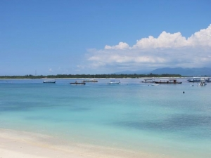Boats in the bay off Gili T