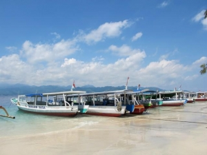 Public Boats waiting on Gili Trawangan