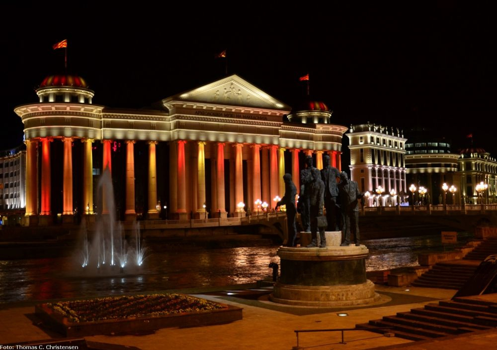Skopje Centre at night (photo by: Thomas Chistensen)
