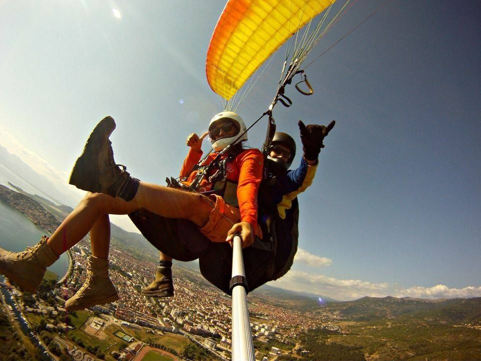 Paragliding down from Galicica
